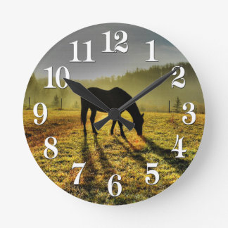 Horse-lovers Western Theme Horse Designer Gift Round Clock