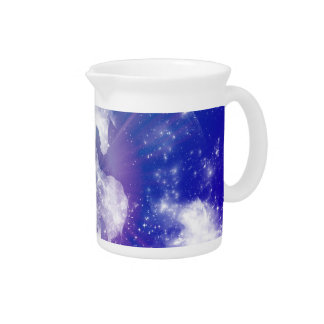 Horse made of nebulas and clouds in the universe drink pitcher