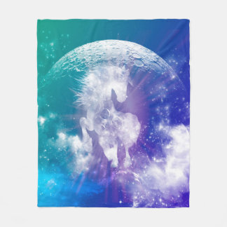Horse made of nebulas and clouds in the universe fleece blanket
