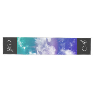 Horse made of nebulas and clouds in the universe medium table runner