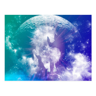 Horse made of nebulas and clouds in the universe postcard