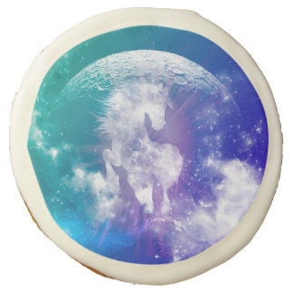 Horse made of nebulas and clouds in the universe sugar cookie