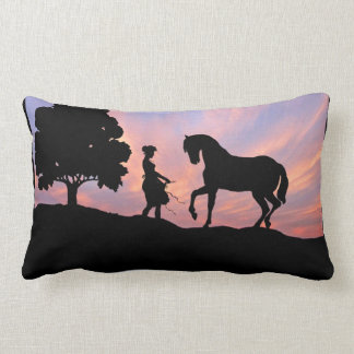 Horse & Maiden Silhouette Pillow
