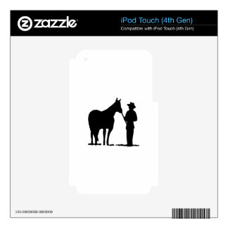 Horse & Man Silhouette Skins For iPod Touch 4G