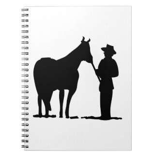 Horse & Man Silhouette Spiral Note Book