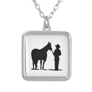 Horse & Man Silhouette Square Pendant Necklace
