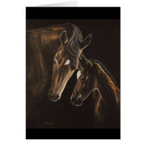 horse, mare and foal card