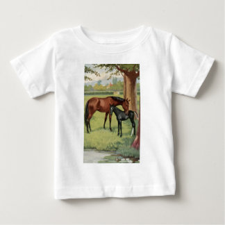 Horse Mare Foal Equestrian Vintage Image Baby T-Shirt