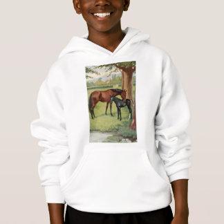 Horse Mare Foal Equestrian Vintage Image Hoodie