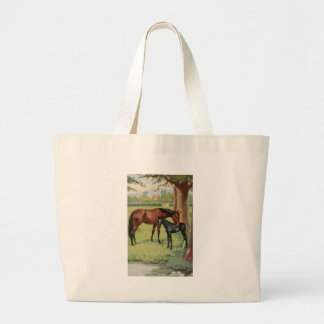 Horse Mare Foal Equestrian Vintage Image Large Tote Bag