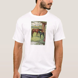 Horse Mare Foal Equestrian Vintage Image T-Shirt