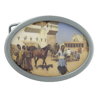 Horse Market,Persian Stables,Bombay by Edwin Weeks Belt Buckles