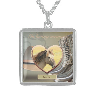 Horse Memorial Keepsake Gift - personalized Sterling Silver Necklace