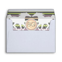 Horse modern striped monogram envelope