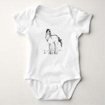Horse monster with dredlocks baby bodysuit