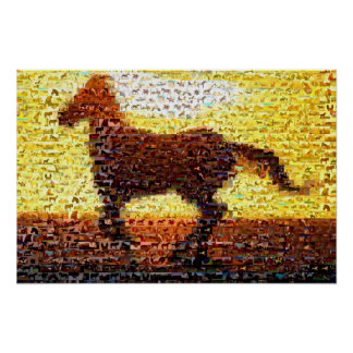 Horse montage mosaic collage print
