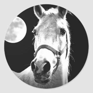 Horse & Moon Classic Round Sticker