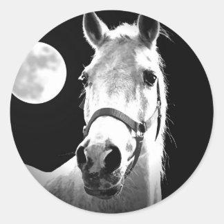 Horse & Moon Round Sticker