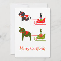 Horse Mule Cat Sleigh ride in green and red Holiday Card