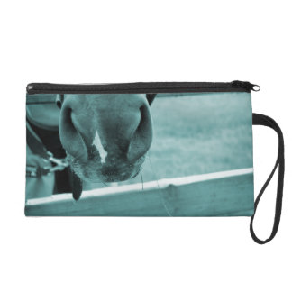 horse muzzle with hay fence blue wristlet purses