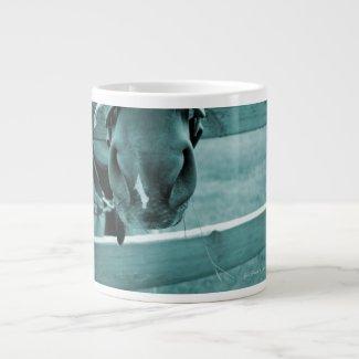 horse muzzle with hay fence blue jumbo mugs