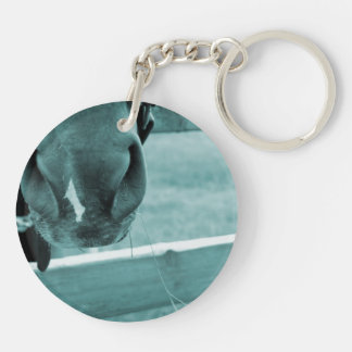 horse muzzle with hay fence blue keychain