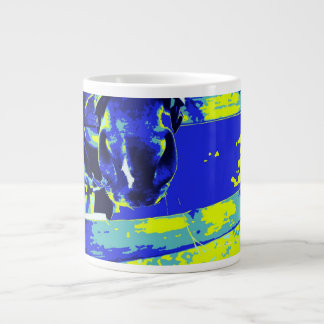 horse muzzle with hay fence blue yellow graphic giant coffee mug