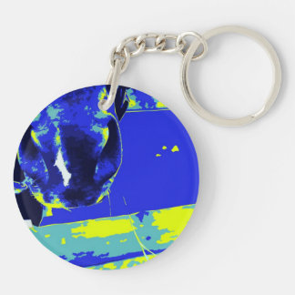 horse muzzle with hay fence blue yellow graphic keychain