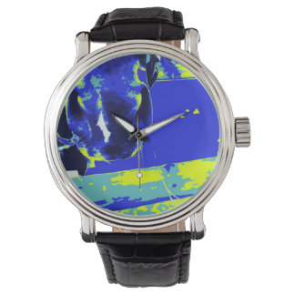 horse muzzle with hay fence blue yellow graphic watch