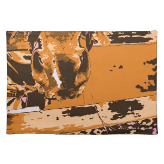 horse muzzle with hay fence brown graphic cloth placemat