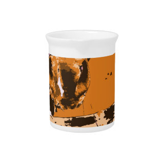 horse muzzle with hay fence brown graphic drink pitcher