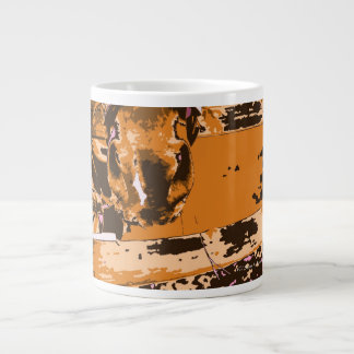 horse muzzle with hay fence brown graphic giant coffee mug