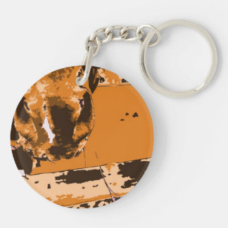 horse muzzle with hay fence brown graphic keychain