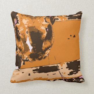 horse muzzle with hay fence brown graphic pillow