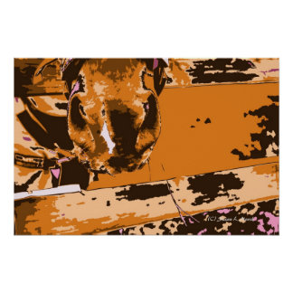 horse muzzle with hay fence brown graphic poster