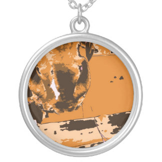 horse muzzle with hay fence brown graphic round pendant necklace