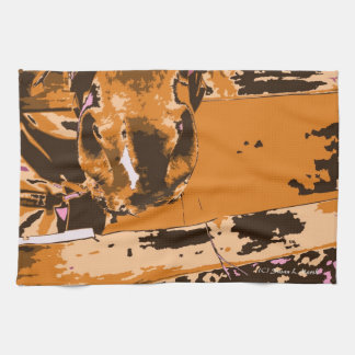 horse muzzle with hay fence brown graphic towel