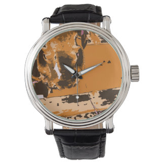 horse muzzle with hay fence brown graphic wristwatch