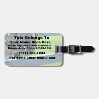horse muzzle with hay fence travel bag tag