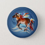 Horse N Bright Feathers Button