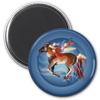 Horse N Bright Feathers Framed Magnet