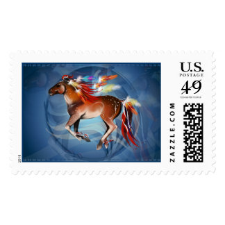 Horse N Bright Feathers Framed Postage