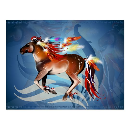 Horse N Bright Feathers Postcard