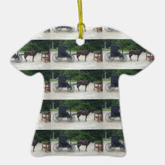 Horse-n-Buggy Ceramic T-Shirt Ornaments