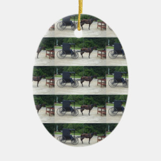 Horse-n-Buggy Oval Ceramic Ornament