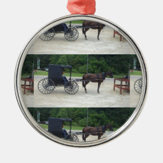 Horse-n-Buggy Silver Round Ornament