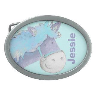Horse name kids blue belt buckle