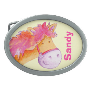 Horse name kids pink yellow belt buckle