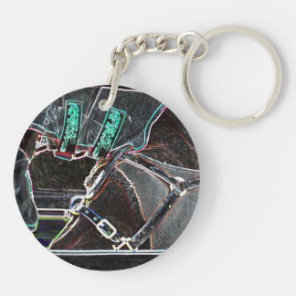 horse neck tuck neon glow abstract keychain