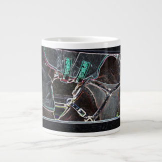 horse neck tuck neon glow abstract large coffee mug